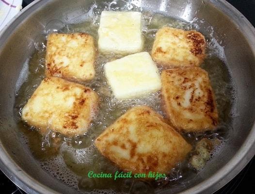 leche frita en sartén