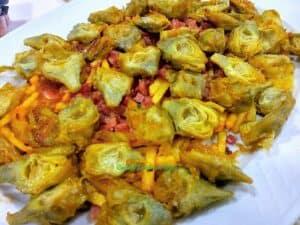 Alcachofas confitadas, plato terminado, presentación receta