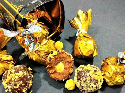 bombones caseros de chocolate, bombones terminados presentación