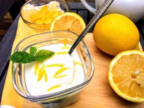 crema de limón terminada, presentación receta