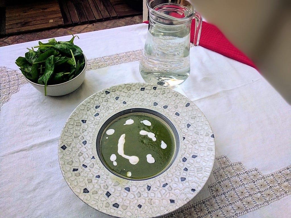 crema de espinacas plato terminado, foto entrada