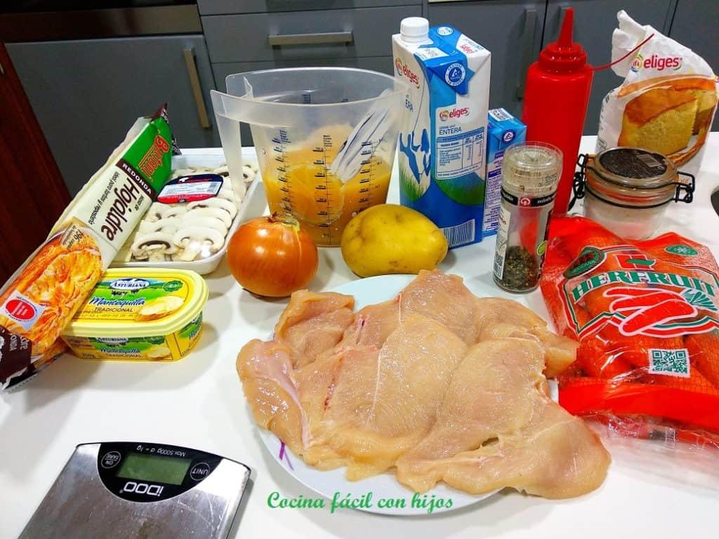 pastel de pollo al horno, ingredienes