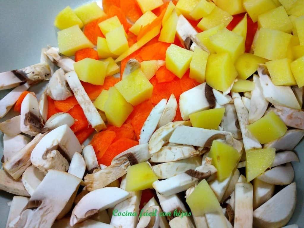 pastel de pollo al horno verduras troceadas