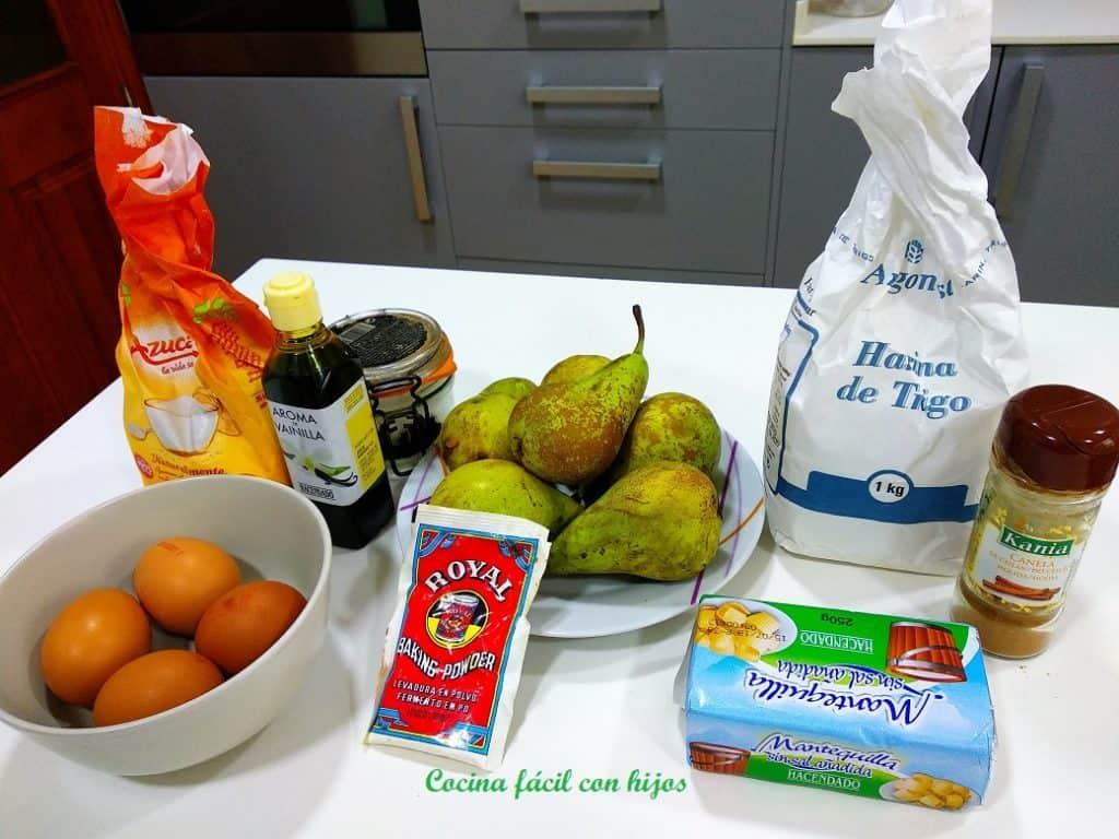 Tarta de peras, ingredientes