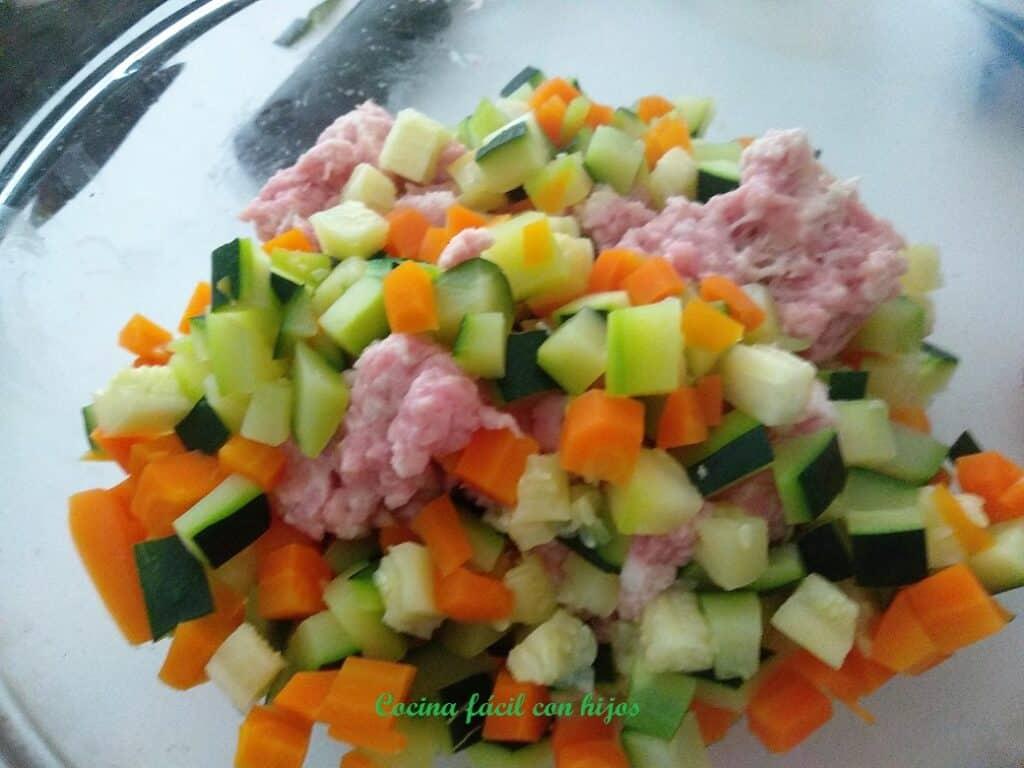 verduras con carne de pavo