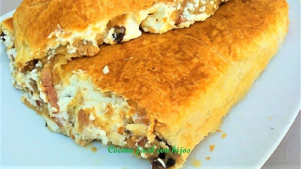 empanada de bacon y datiles plato presentación entrada empanada partida