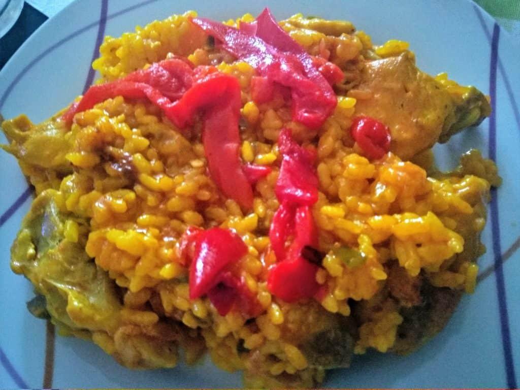 arroz con pollo, arroz con pimientos