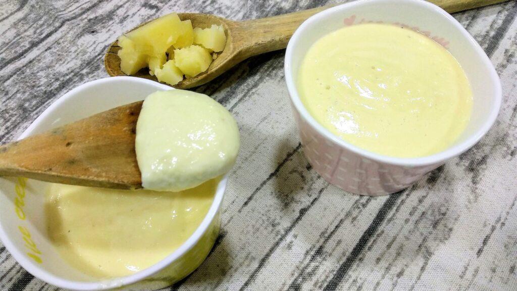 salsa de queso para carne, salsa terminada, entrada