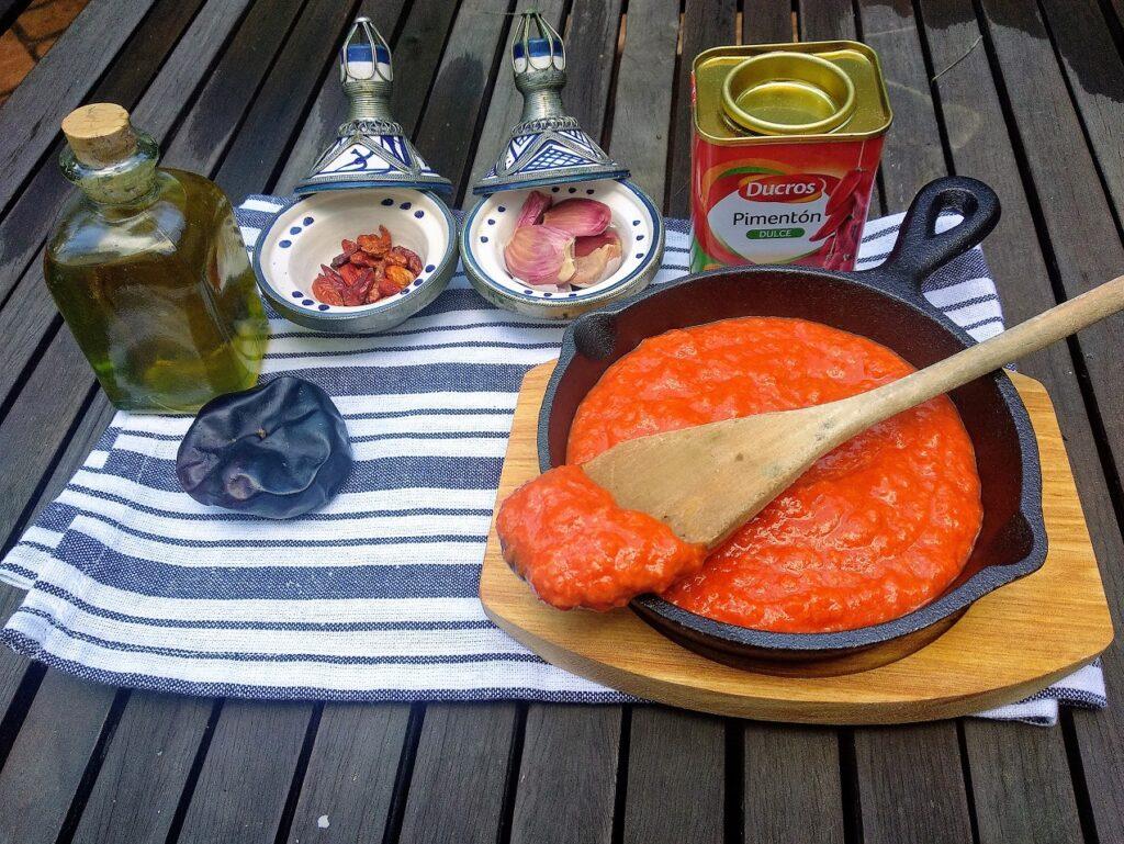 salsa Romesco, plato terminado, entrada