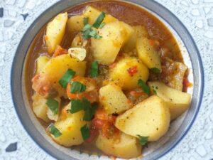 Patatas viudas, plato terminado, presentación receta